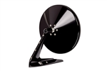 Gloss Black Round Billet Aluminum Side View Mirror with Fasteners Leading Edge and Convex Glass