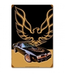 Metal Tin Sign, 1977 Special Edition Bandit Trans Am Hood Bird
