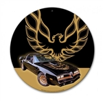 Metal Tin Sign, Trans Am Car & Bird, Round