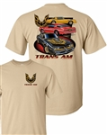 1977 Pontiac Firebird Three Trans Am T-Shirt with Black & Gold Hood Bird Logo on Front Chest