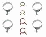 1967 - 1968 Firebird Heater Hose and Radiator Hose Clamps Set, 8 Pieces