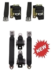 1975 - 1981 Firebird FRONT and REAR Retractable Seat Belts Set with Color Choice & OE STYLE GM Push Buttons