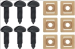 1982 - 1992 Black Firebird and Trans Am Interior Rear Hatch Cargo Trim Panel Screw and Plastic Nut Kit, 12 Piece Set