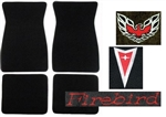 1973 Firebird or Trans Am Carpeted Floor Mats Set with Custom Embroidered Logos & Colors