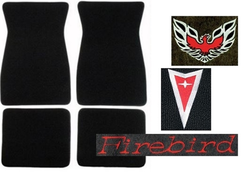 1979 carpeted floor mats set with custom embroidered logos for 1979 trans am floor mats