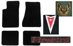 1985 Firebird or Trans Am Carpeted Floor Mats Set with Custom Embroidered Logos & Colors