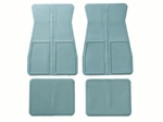1973 - 1981 Firebird or Trans Am OE Style Rubber Floor Mats Set with GM Logo, Front and Rear, Light Blue