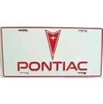 Pontiac Arrowhead License Plate, Red and White