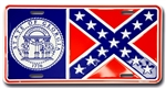Bandit Trans Am Georgia Confederate Flag License Plate 1977 - 1981, Front