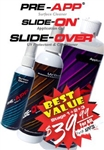 PRE-APP Cleaner, SLIDE-ON Application Gel & SLIDE-OVER UV Protectant / Conditioner 3 Stage Kit for Stripes, Decals, and Stencils