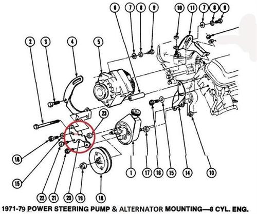 1971-1981 firebird power steering pump front mounting bracket, new  firebird central