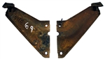 1969 Firebird Radiator Core Support To Fender Side Support Brace Gussets, Pair Used GM