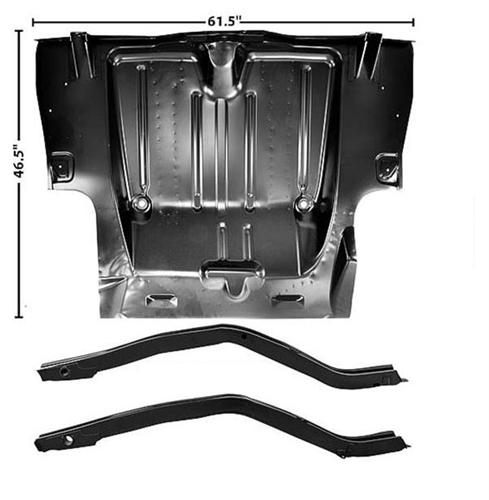1969 Full Trunk Floor Panel w/ Frame Rails, For Mini Tubs