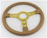 1970 - 1981 Firebird and Trans Am Formula Padded Steering Wheel - Gold Spokes with Camel Tan Padding