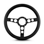 "1969 - 1981 Firebird Trans Am Lecarra Billet Aluminum and Leather Wrap Formula Steering Wheel 1-1/8"" Fat Grip, Black Leather with Black Spokes"