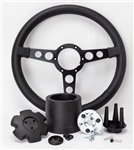 "1969 - 1981 Firebird Trans Am Lecarra Billet Aluminum and Leather Wrap Formula Steering Wheel 1-1/8"" Fat Grip, Black Leather with Black Spokes Complete Kit"