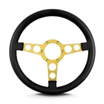 "1969 - 1981 Firebird Trans Am Special Edition Style Lecarra Billet Aluminum and Leather Wrap Formula Steering Wheel 1-1/8"" Fat Grip, Black Leather with Gold Spokes"
