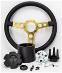 "1969 - 1981 Firebird Trans Am Special Edition Style Lecarra Billet Aluminum and Leather Wrap Formula Steering Wheel 1-1/8"" Fat Grip, Black Leather with Gold Spokes Complete Kit"