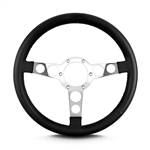 "1969 - 1981 Firebird Trans Am Lecarra Billet Aluminum and Leather Wrap Formula Steering Wheel 1-1/8"" Fat Grip, Black Leather with Polished Spokes"