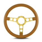 "1969 - 1981 Firebird Trans Am Lecarra Billet Aluminum and Leather Wrap Formula Steering Wheel 1-1/8"" Fat Grip, Camel Tan Leather with Gold Spokes"