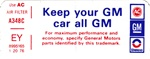 1976 Firebird Keep Your GM Air Cleaner Decal, EY 8995165