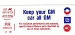 1976 Firebird Keep Your GM Air Cleaner Decal, PR 8995232
