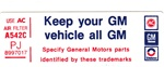 "1979 Air Cleaner Decal "" Keep your vehicle all GM "" for 400 Engines PJ"
