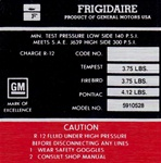 1967 Engine Compartment Frigidaire Air Conditioner Compressor Decal