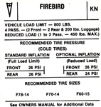 1970 Tire Pressure Decal