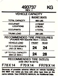 1974 Firebird Tire Pressure Decal, 493737 KG Code
