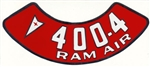 400 4V RAM AIR Air Cleaner Decal