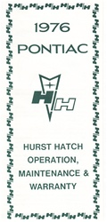 1976 - 1978 Hurst Hatch T Top Operation Pamphlet Manual