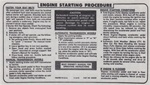 1974 - 1976 Firebird Sunvisor Engine Starting Instructions Decal