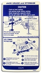 1969 Trunk Jacking Instructions Decal - Coupe - Regular Spare