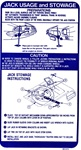 1971 - 1973 Firebird Trunk Jacking Instructions Decal for Regular Size Spare, 491272