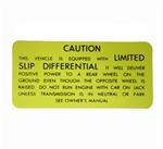"1970-1973 Rear Axle Positraction ""LIMITED SLIP DIFFERENTIAL"" Trunk Caution Decal"