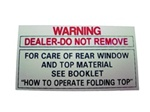 1967-1969 Convertible Top Warning Decal