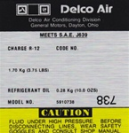 1977 - 1981 Firebird Air Conditioning Compressor Decal, Delco 5910738