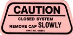 1970 Firebird Fuel Gas Cap Warning Decal for California
