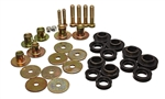 1967 - 1972 Firebird Black Polyurethane Body Bushings Set with Steel Sleeves and Hardware