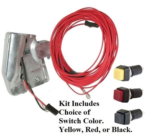 1967 - 1969 firebird power remote trunk release latch, harness and button  switch kit, choice of switch color