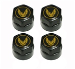 1982 - 1992 Firebird Black Wheel Center Caps, Gold Bird