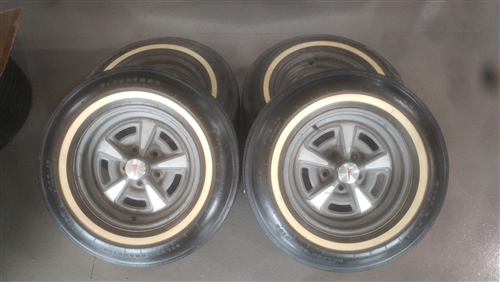15 Inch Tires >> 15 Inch Pontiac Rally Wheel Rims And Firestone White Wall Tires Set Of 4 Gm Used