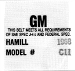 1968 - Early 1969 Hamill C11 Seat Belt Date Code Label Tag, Each