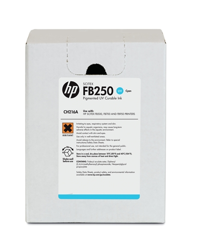 HP FB250 Scitex UV Curable 3 Liter Ink Cartridge CH216A Cyan