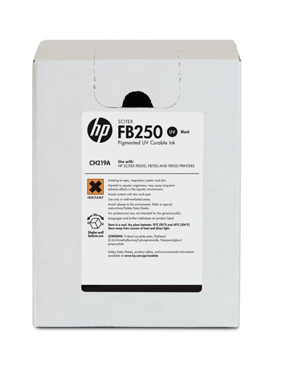 HP FB250 Scitex UV Curable 3 Liter Ink Cartridge CH219A Black