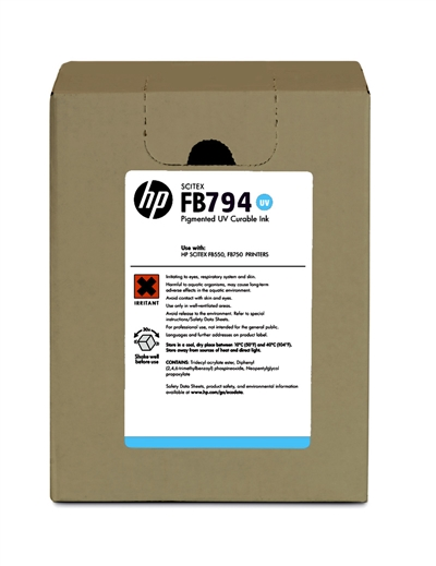 HP FB794 Scitex UV Curable 3 liter Ink Cartridge G0Y97A Lt Cyan