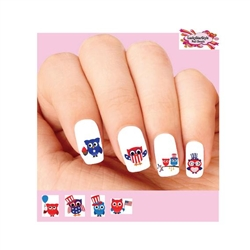 4th of July Owls with American Flag Assorted Set of 20 Waterslide Nail Decals