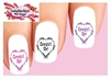Cowgirl Up Barbwire Heart Assorted Set of 20  Waterslide Nail Decals