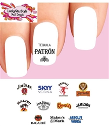 Alcohol Spirits Liquor Assorted #1 Set of 48 Waterslide Nail Decals